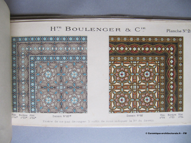 Page du catalogue Hte Boulenger & Cie à Paris, usine à Vitry-sur Seine, 1922. Grès cérame
