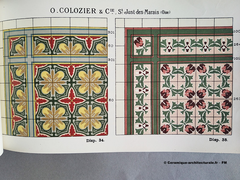 Page du catalogue Colozier & Cie à St Just des Marais (60), vers 1913. Grès cérame fin