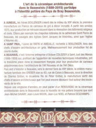 Dos du flyer et frise de carreaux d'Auneuil