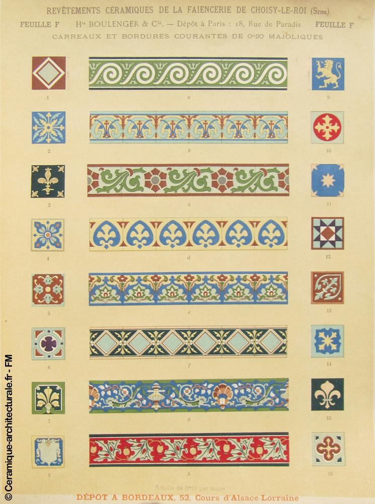 Feuille F du catalogue Hte Boulenger & Cie – 1898 © FM
