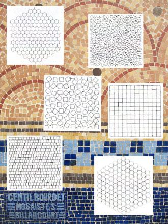 Six assemblages proposés par Gentil &Bourdet sur leur catalogue et mur à La Bourboule (63)
