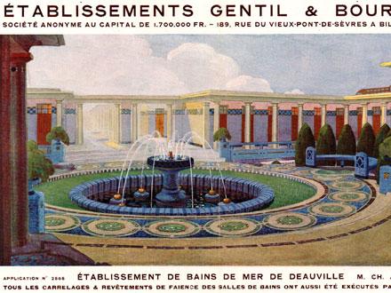 Image publicitaire ancienne et aujourd'hui, Etablissement de bains de mer de Deauville (14), 1922 ou 1923, rénovés en 1993