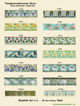Fac-similé de la 1ère planche du catalogue Gilardoni Fils & Cie, en usage de 1903 à 1909