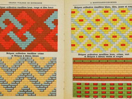 Exemples d'appareillages de briques émaillées, au catalogue de la Grande tuilerie de Bourgogne à Montchanin en 1886, coll° Ph. Le Port
