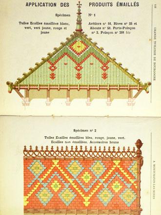 Exemple de toitures décorées de tuiles émaillées, au catalogue de la Grande tuilerie de Bourgogne à Montchanin en 1886, coll° Ph. Le Port