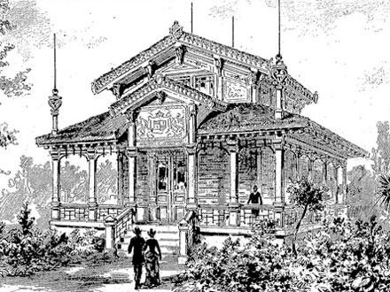 Pavillon des iles Hawaï, dessin d'après nature de M. Dosso