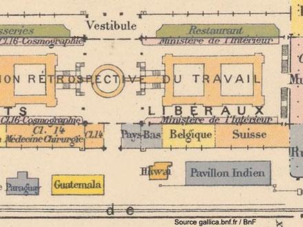 Exposition universelle de 1889. Plan général des divers palais – détail, le pavillon Hawaï – Source gallica.bnf.fr / BnF