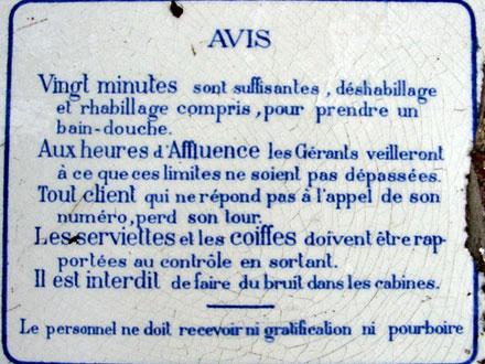 Conseil aux usagers des Bains-Douches