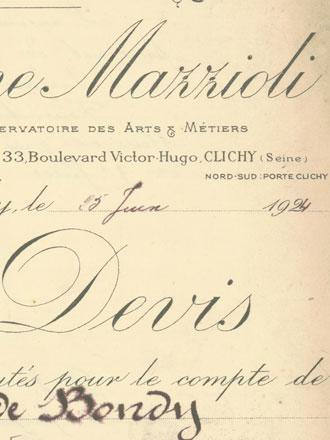 Entête du devis de Philippe Mazzioli (Archives municipales)