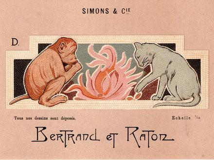 Petite planche publicitaire de Simons & Cie, mosaïque faisant référence à la fable de La Fontaine Le singe et le chat