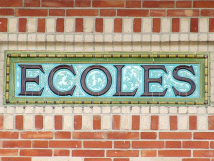 Ecoles, 1908, place Gallieni à Noisy-le-Grand (93), céramiques E. Muller & Cie
