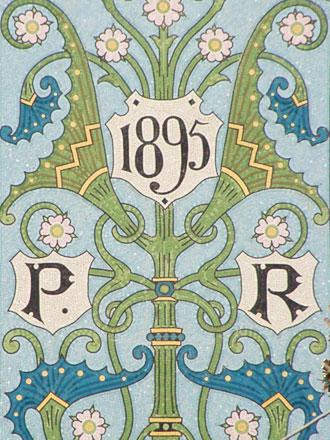 Panneau de mosaïque 1895 et initiales à Briare (45), marqué FB adossées (Félix Bapterosses ?)