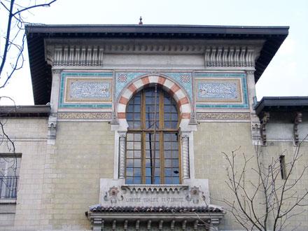 Panneau de mosaïque de C. Lameire, à caractère historique, rue de l'Observatoire à Paris (75)