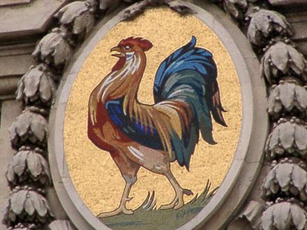 Coq en mosaïque, sur la Poste de Dijon (21)