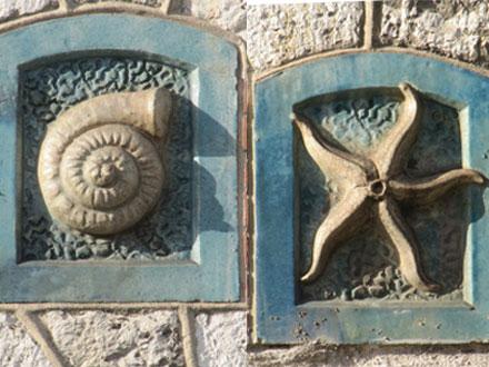 Coquillage et étoile de mer, attribués à Bigot, Meung sur Loire (41)
