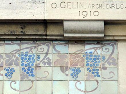 Frise à dessins de Gentil & Bourdet et marque de l'architecte Octave Gélin, 1910