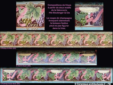 Frise d'Hte Boulenger & Cie, modèle à succès, ici à Noisy-le-Sec, St-Ouen, Aulnay-sous-Bois (93)