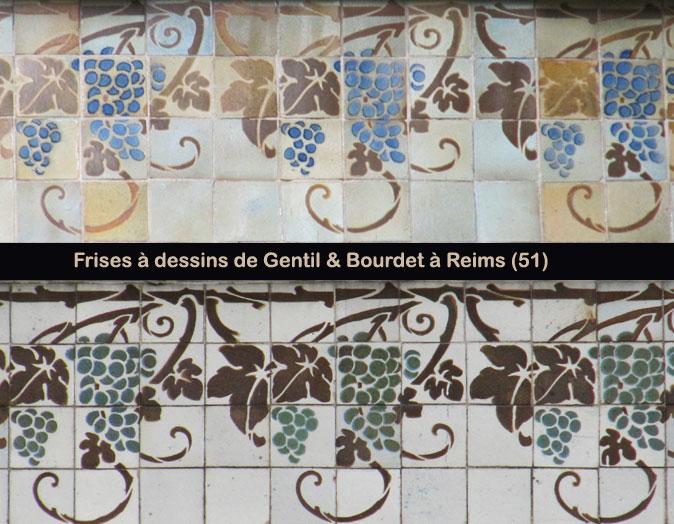 Deux mêmes frises à dessins, de réalisation différente par Gentil & Bourdet à Reims (51)