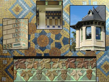 Décors en céramique à l'extérieur de la villa Demoiselle et mosaïque sur sol à l'intérieur