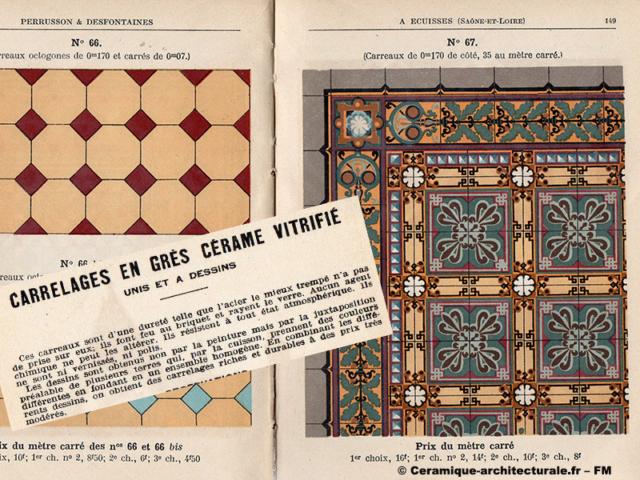 Qualités du grès cérame vitrifié chez Perrusson & Desfontaines à Ecuisses (71), 1914