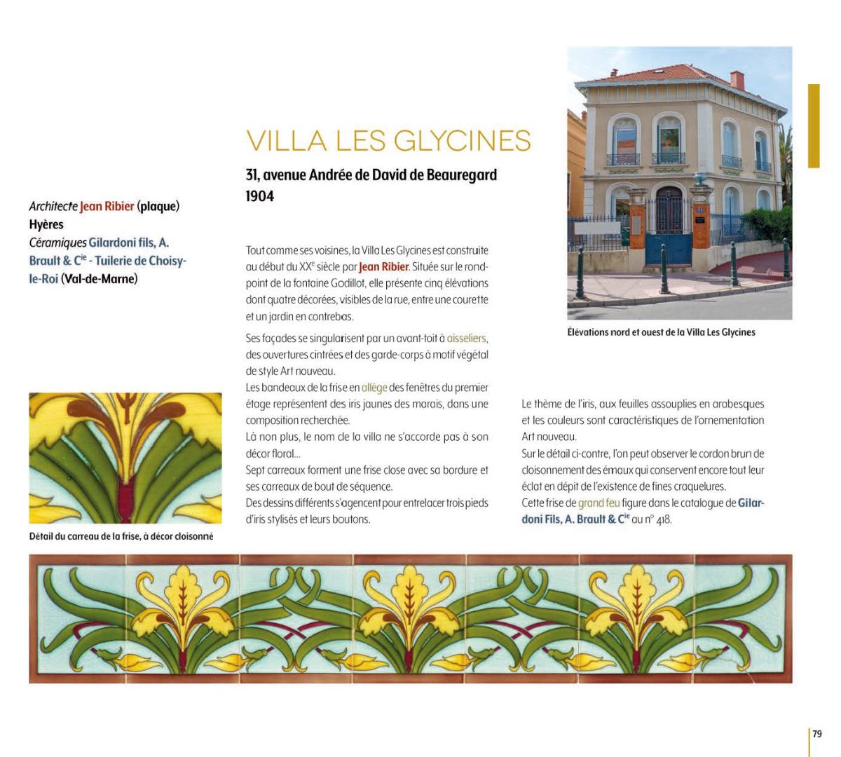 Villa Les Glycines, Hyères, architecte Jean Ribier, céramiques Gilardoni fils A. Brault & Cie